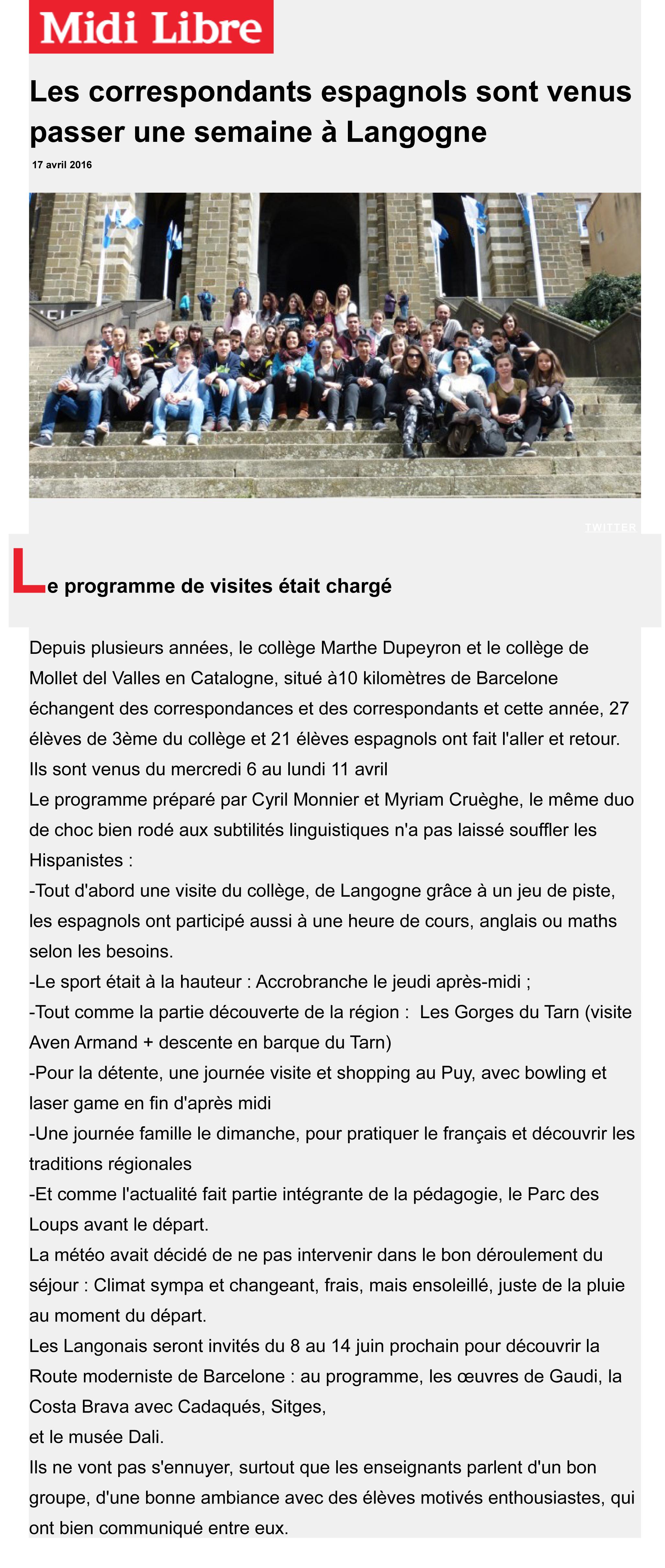 Article Midi Libre du 17 avril 2016